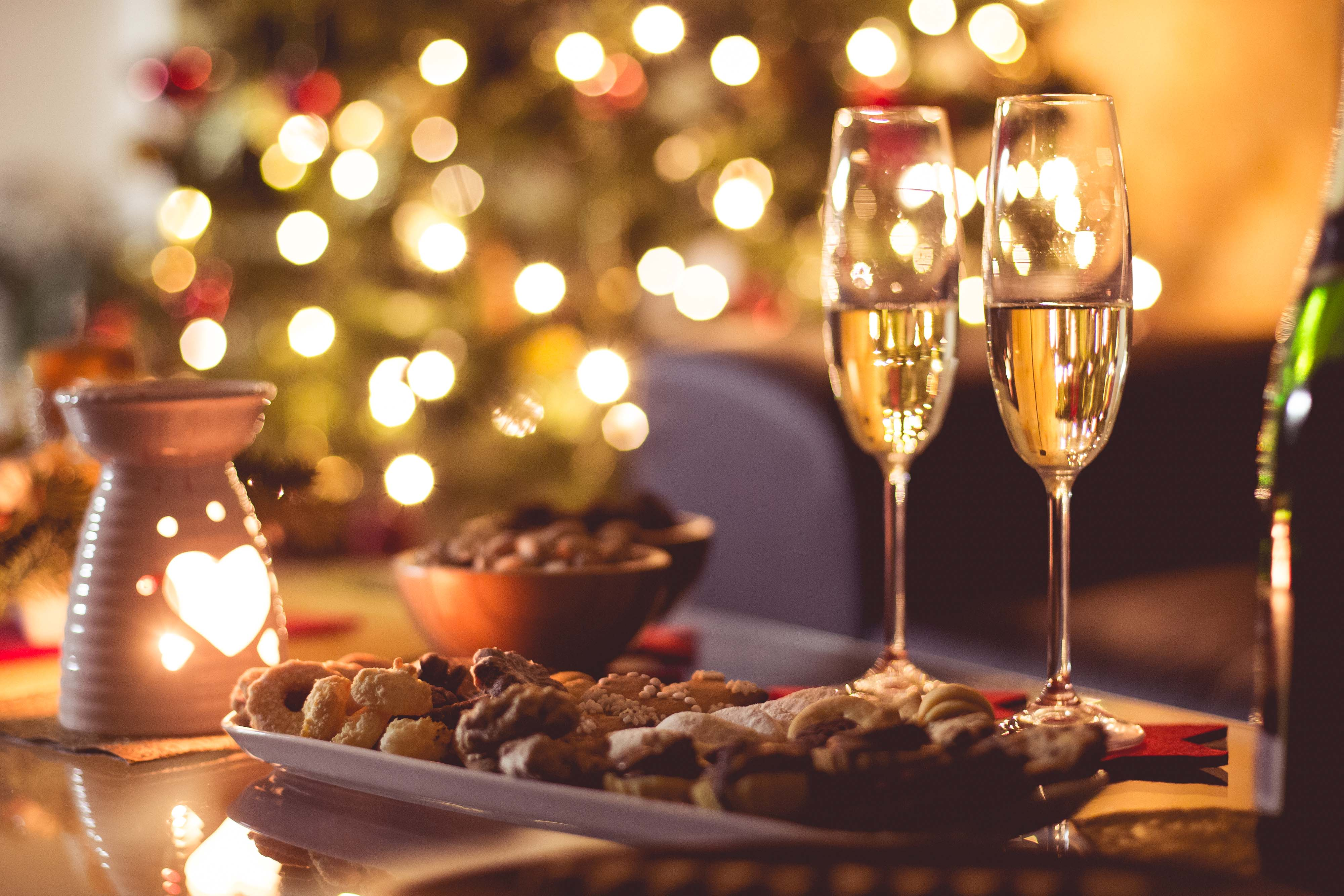 Holiday Image Of Food And Wine