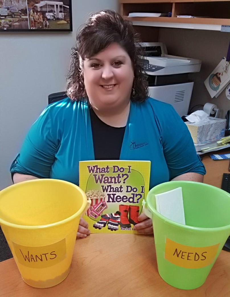 Tanya Holding Book With Two Pails Photo