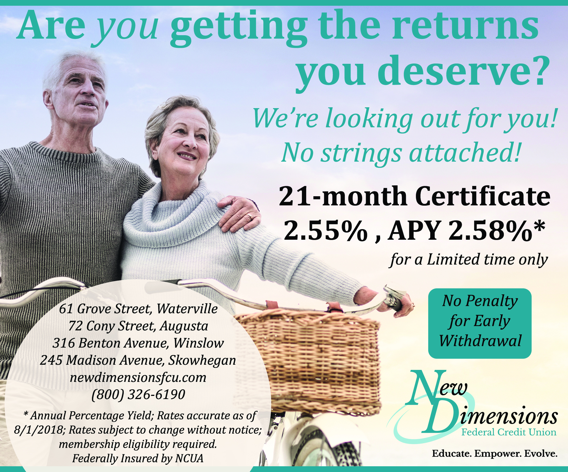 Share certificate ad. older people on bikes