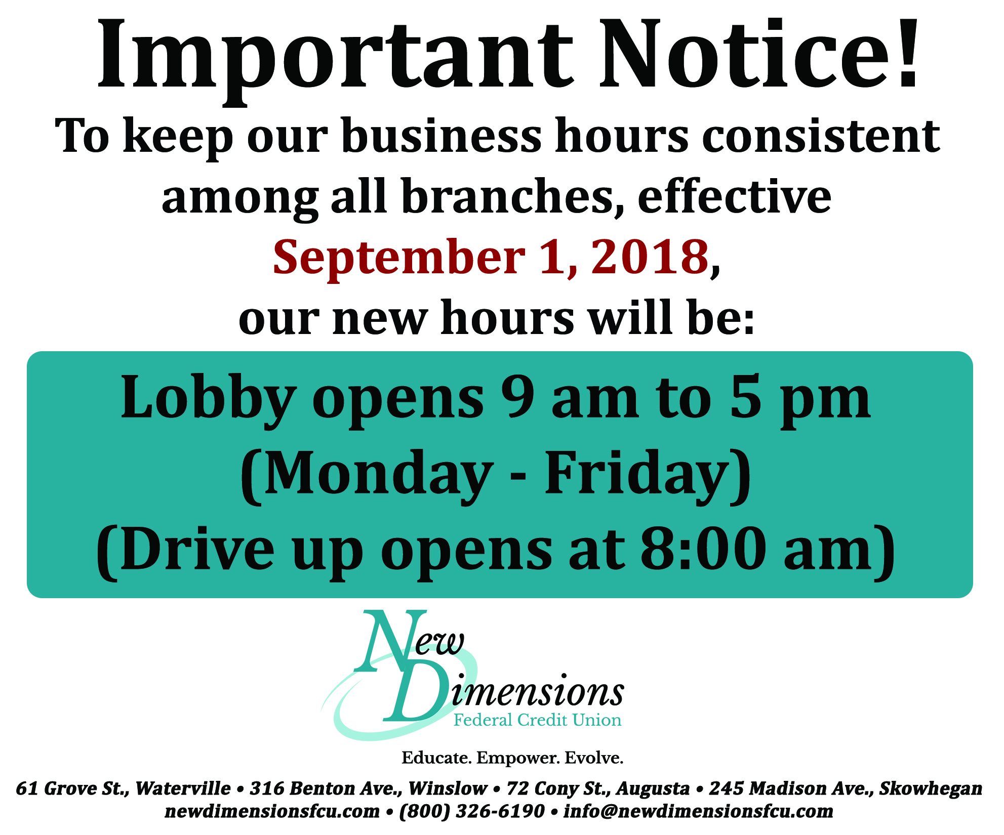 Photo Of New Business Hours At NDFCU. 9-5pm, Drive Up Opens At 8am