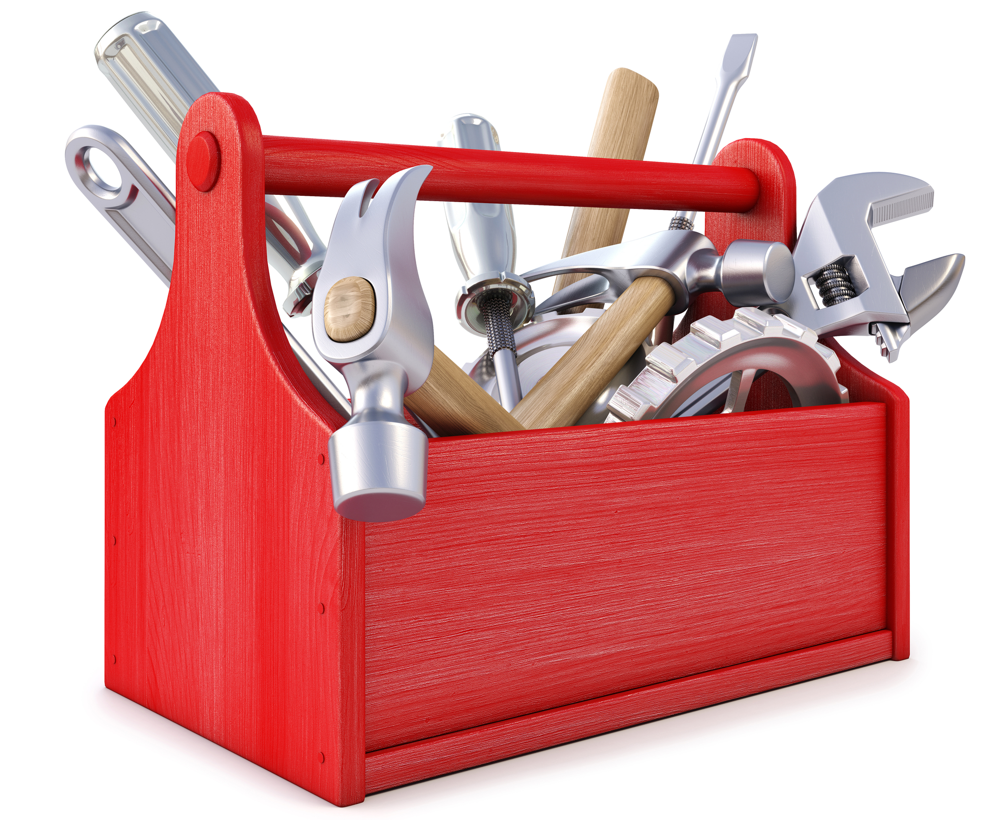 Red Toolbox With Tools Hanging Out