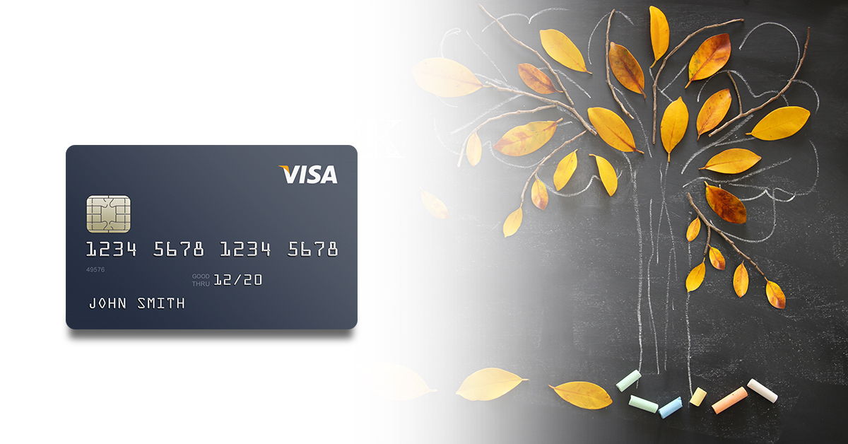 Visa card with fall tree