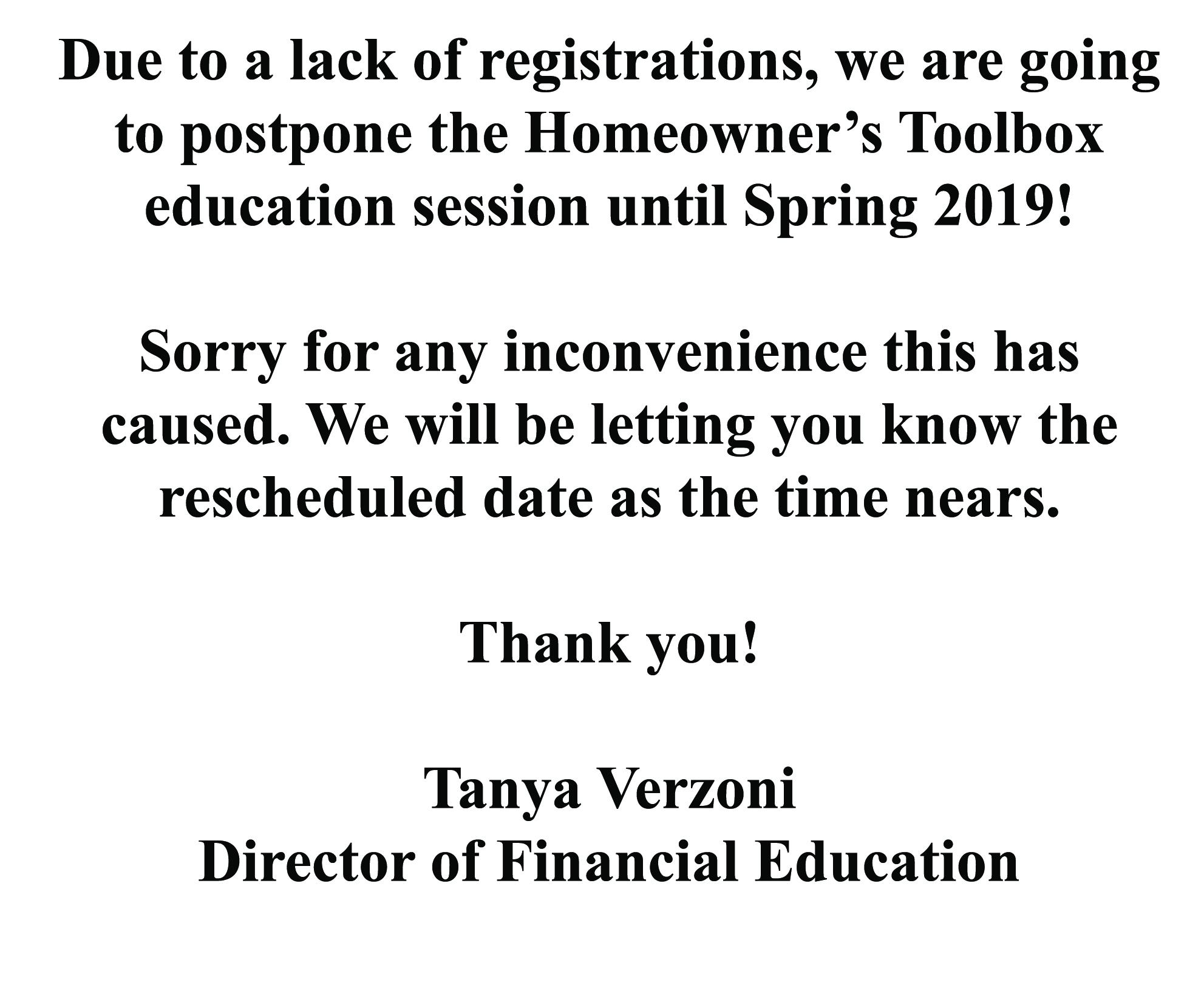 Rescheduling Event Until Spring 2019