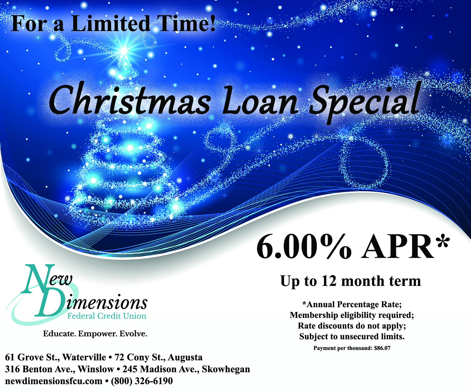 at new dimensions fcu our personal loans have extremely competitive rates we have terms to fit your budget and loan amounts to fit your needs - Christmas Loans No Credit Check