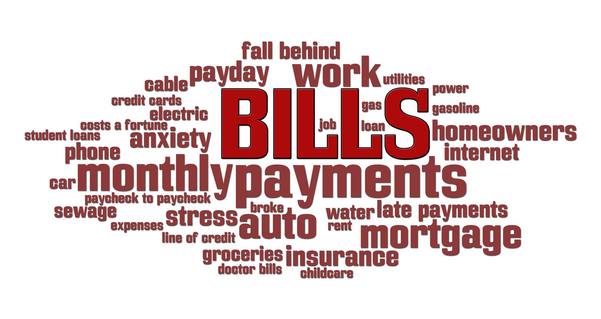Word Bubble With Bills Mortgage And More Debt Words