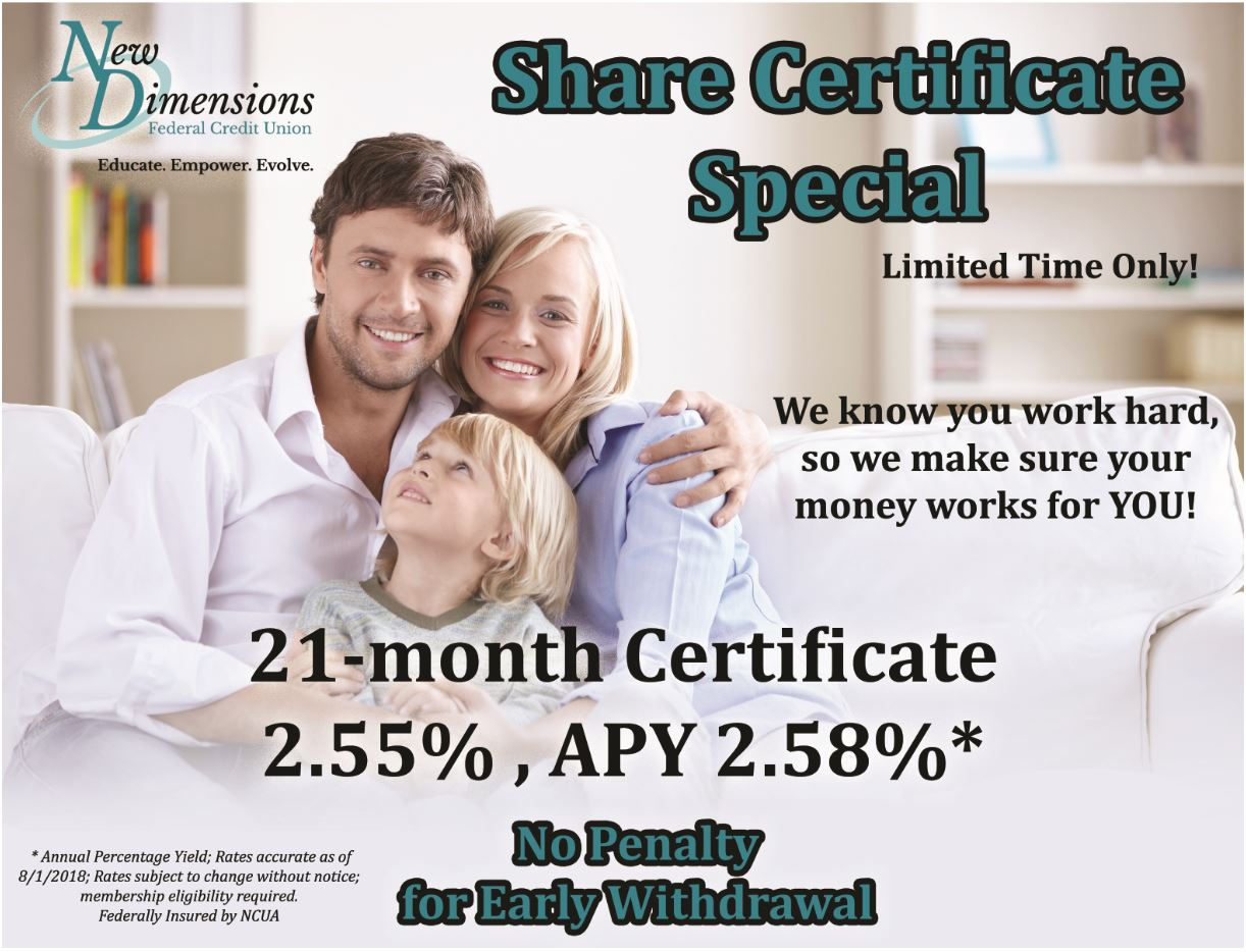 ad for 21 month CD special. 21 month 2.55%