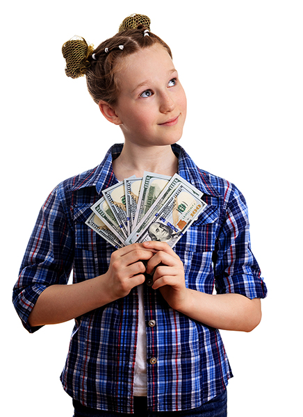 Little Girl Holding US Dollars