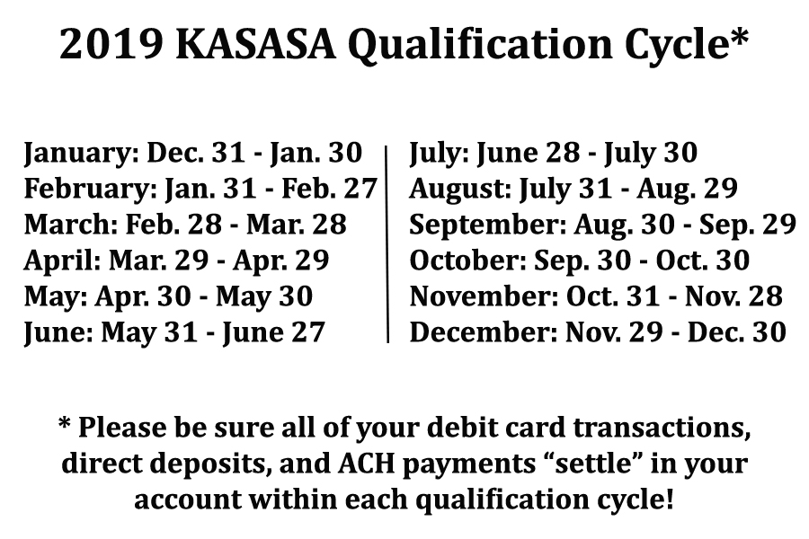kasasa qualifying cycle dates