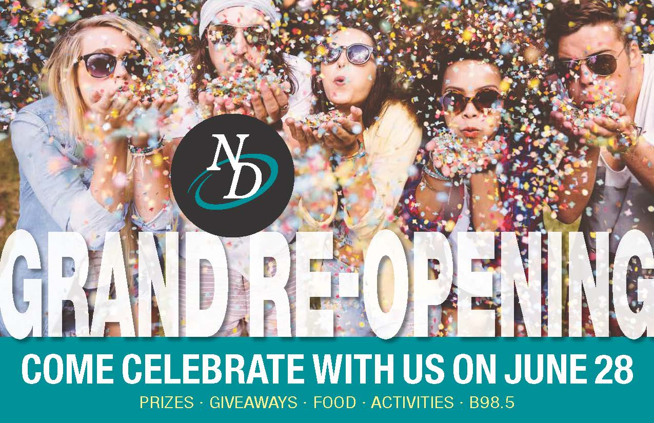Grand Reopening With Celebrating People And Confetti