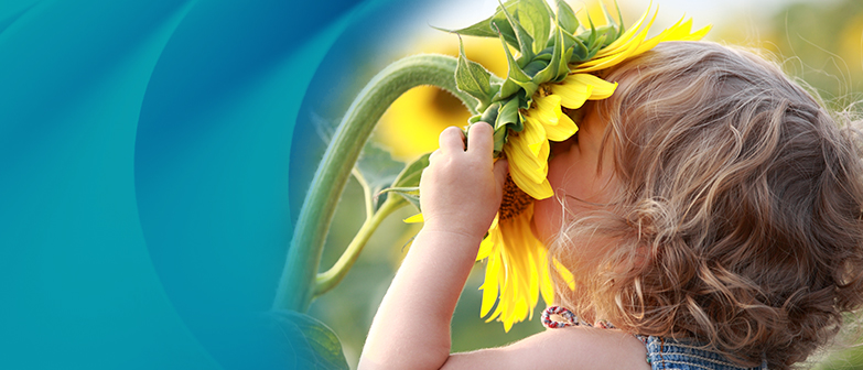 little girl with face in yellow flower