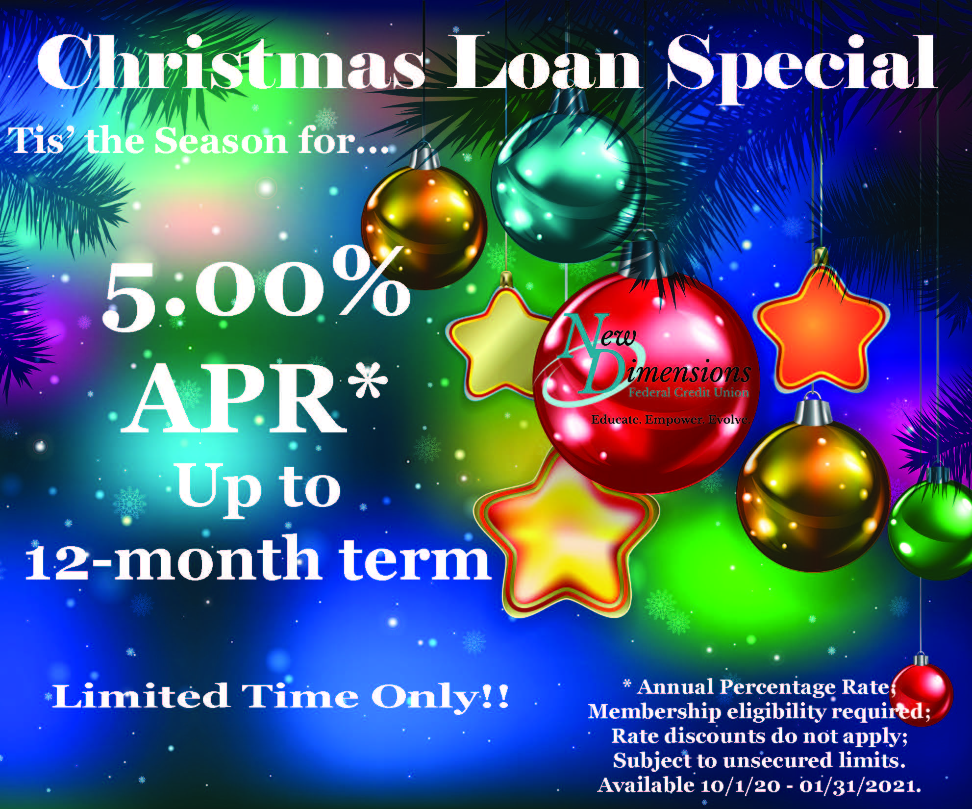 christmas loan special ad 5.00apr. up to 12 mo.